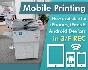 Mobile Printing now available for iPhones, iPads and Android Devices in 3/F REC