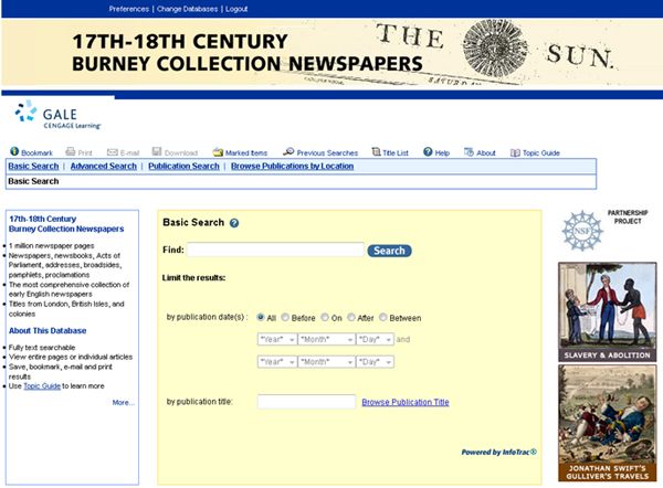 17th and 18th Century Burney Collection Newspapers