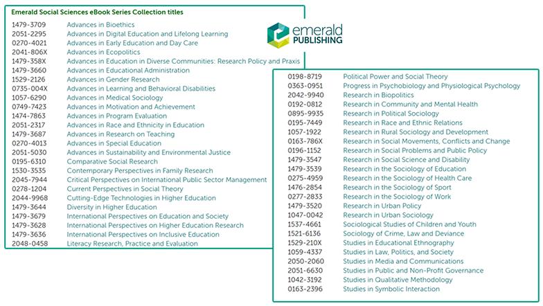 Emerald Social Sciences eBook Series Collection