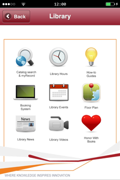 Library page at iPolyU app