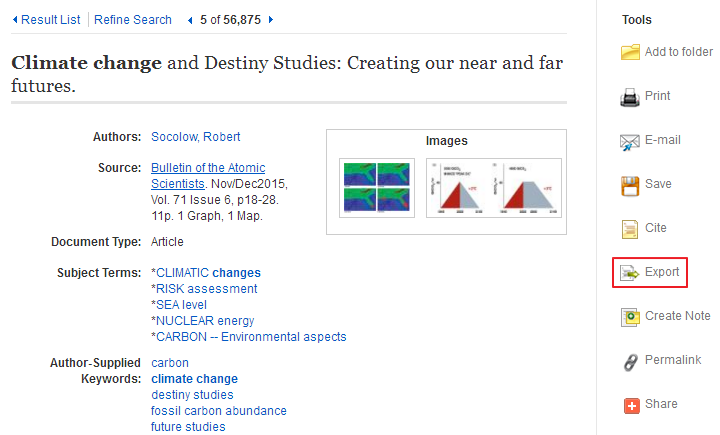 EBSCOhost Example Screen 1